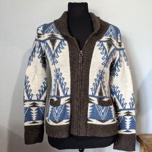 Pendleton Wool Alpaca Tribal Aztec Zip Up Sweater